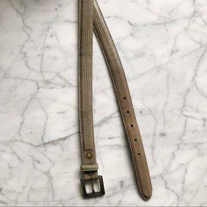 Vintage Coach Tan + Silver Genuine Lizard Belt - L